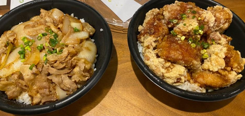 ザンギ丼と豚丼